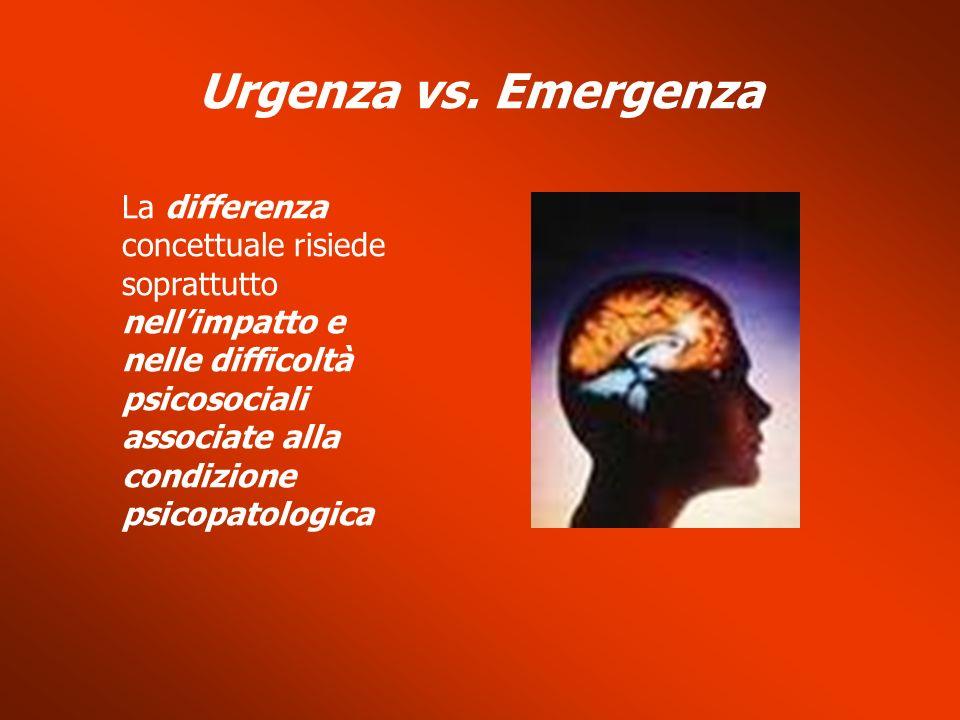 La differenza concettuale risiede soprattutto nellimpatto e nelle difficoltà psicosociali associate alla condizione psicopatologica Urgenza vs. Emerge