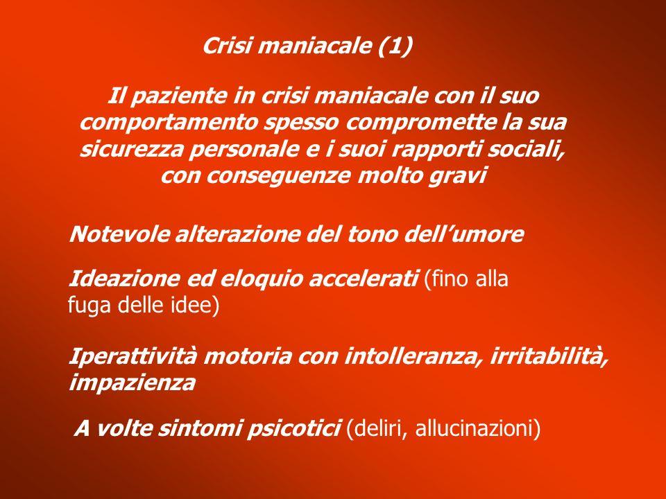 Crisi maniacale (1) Il paziente in crisi maniacale con il suo comportamento spesso compromette la sua sicurezza personale e i suoi rapporti sociali, c