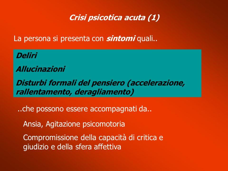 Crisi psicotica acuta (1) La persona si presenta con sintomi quali.. Deliri Allucinazioni Disturbi formali del pensiero (accelerazione, rallentamento,