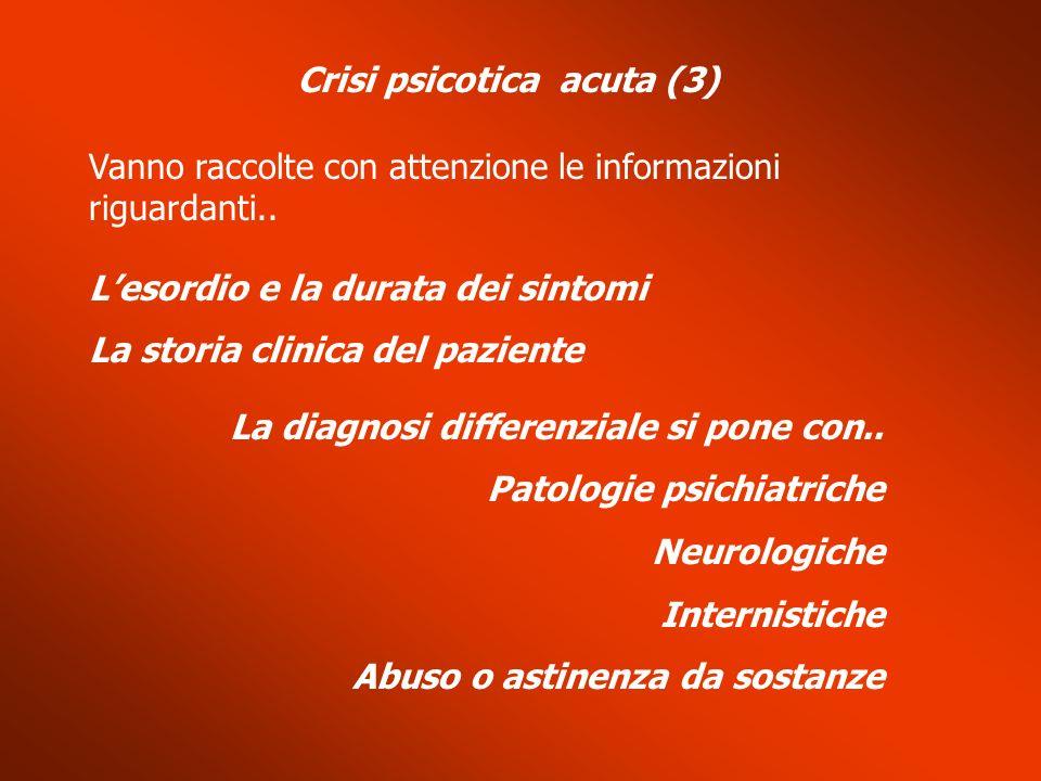Crisi psicotica acuta (3) Vanno raccolte con attenzione le informazioni riguardanti.. Lesordio e la durata dei sintomi La storia clinica del paziente