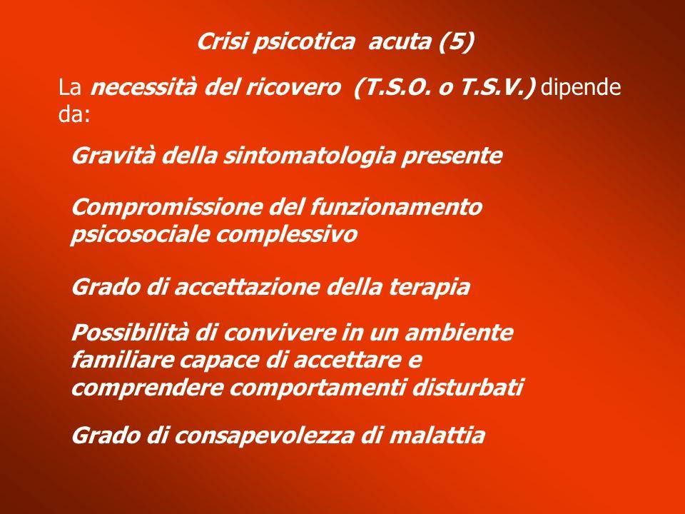 Crisi psicotica acuta (5) La necessità del ricovero (T.S.O. o T.S.V.) dipende da: Gravità della sintomatologia presente Compromissione del funzionamen