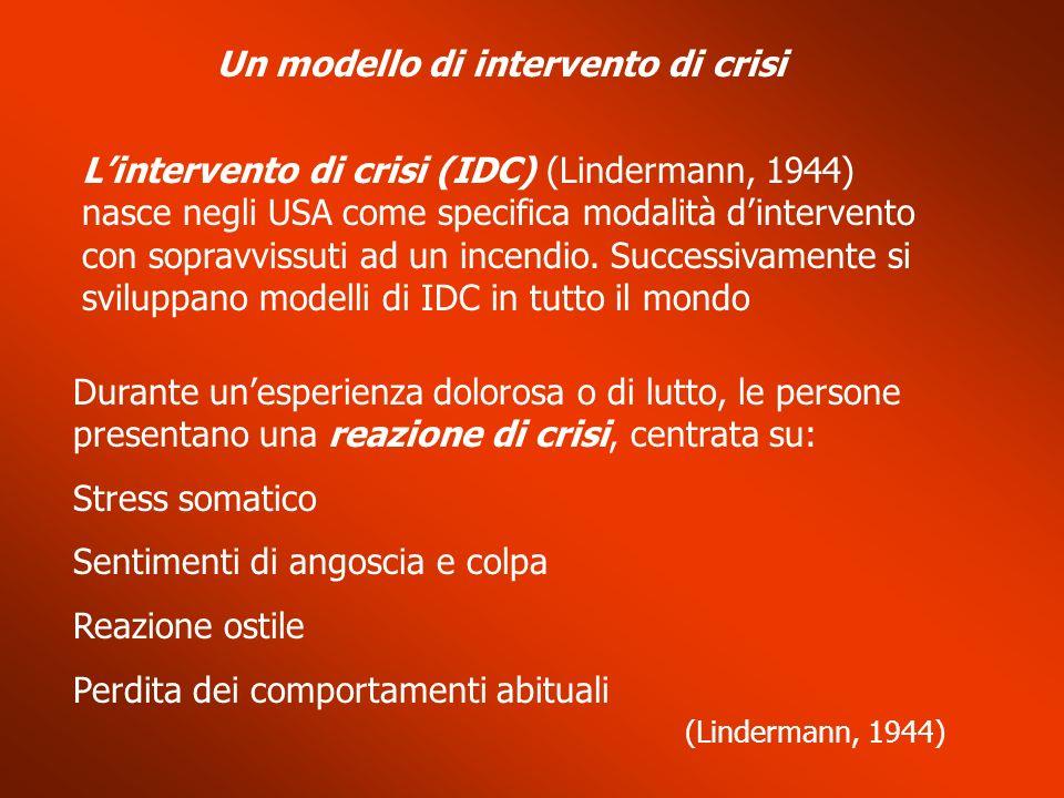 Un modello di intervento di crisi Lintervento di crisi (IDC) (Lindermann, 1944) nasce negli USA come specifica modalità dintervento con sopravvissuti