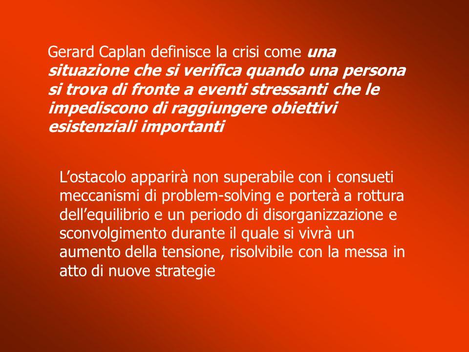 Gerard Caplan definisce la crisi come una situazione che si verifica quando una persona si trova di fronte a eventi stressanti che le impediscono di r