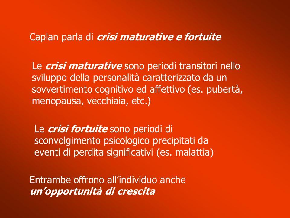 Caplan parla di crisi maturative e fortuite Le crisi maturative sono periodi transitori nello sviluppo della personalità caratterizzato da un sovverti