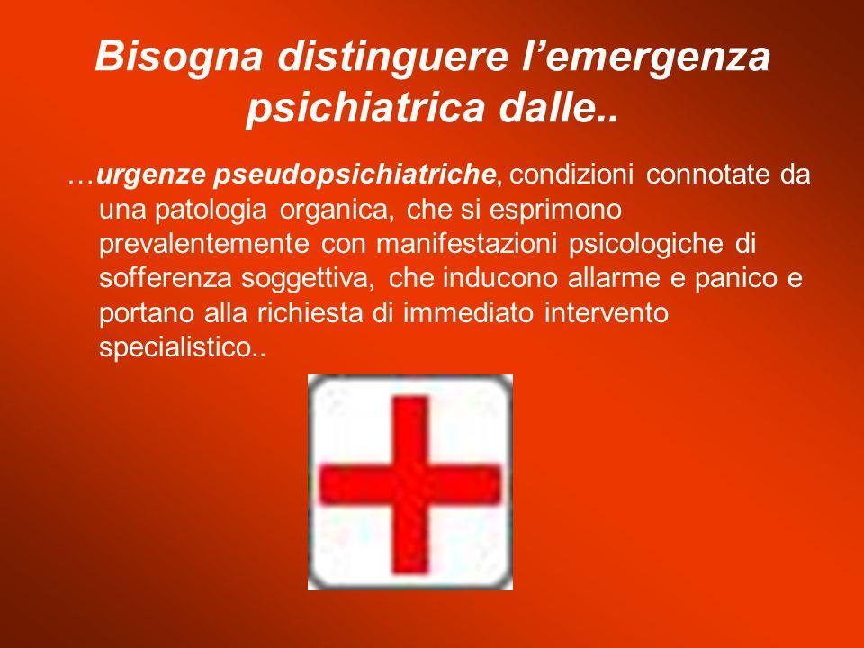 Bisogna distinguere lemergenza psichiatrica dalle.. …urgenze pseudopsichiatriche, condizioni connotate da una patologia organica, che si esprimono pre