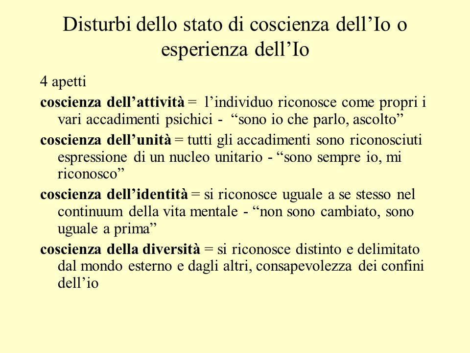 Disturbi dello stato di coscienza dellIo o esperienza dellIo 4 apetti coscienza dellattività = lindividuo riconosce come propri i vari accadimenti psi