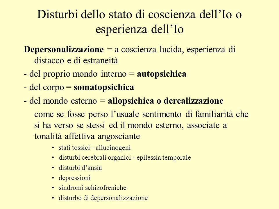 Disturbi dello stato di coscienza dellIo o esperienza dellIo Depersonalizzazione = a coscienza lucida, esperienza di distacco e di estraneità - del pr