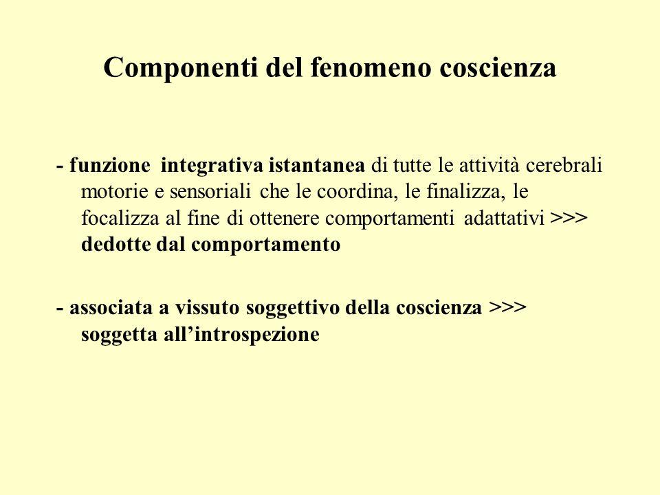 Componenti del fenomeno coscienza - funzione integrativa istantanea di tutte le attività cerebrali motorie e sensoriali che le coordina, le finalizza,