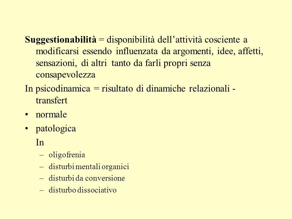 Suggestionabilità = disponibilità dellattività cosciente a modificarsi essendo influenzata da argomenti, idee, affetti, sensazioni, di altri tanto da