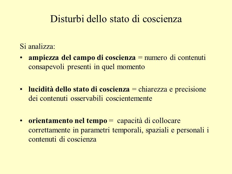 Disturbi dello stato di coscienza Si analizza: ampiezza del campo di coscienza = numero di contenuti consapevoli presenti in quel momento lucidità del
