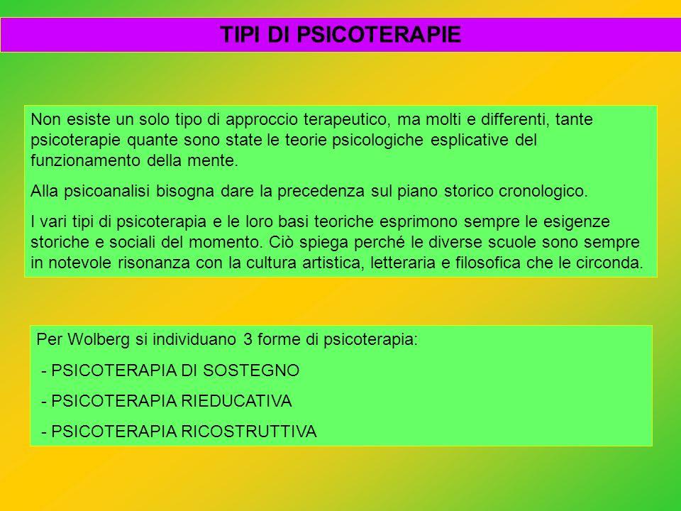 Non esiste un solo tipo di approccio terapeutico, ma molti e differenti, tante psicoterapie quante sono state le teorie psicologiche esplicative del f