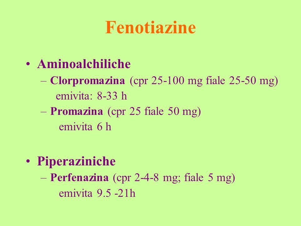 Fenotiazine Aminoalchiliche –Clorpromazina (cpr 25-100 mg fiale 25-50 mg) emivita: 8-33 h –Promazina (cpr 25 fiale 50 mg) emivita 6 h Piperaziniche –P