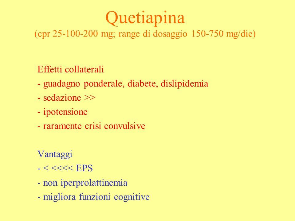 Quetiapina (cpr 25-100-200 mg; range di dosaggio 150-750 mg/die) Effetti collaterali - guadagno ponderale, diabete, dislipidemia - sedazione >> - ipot