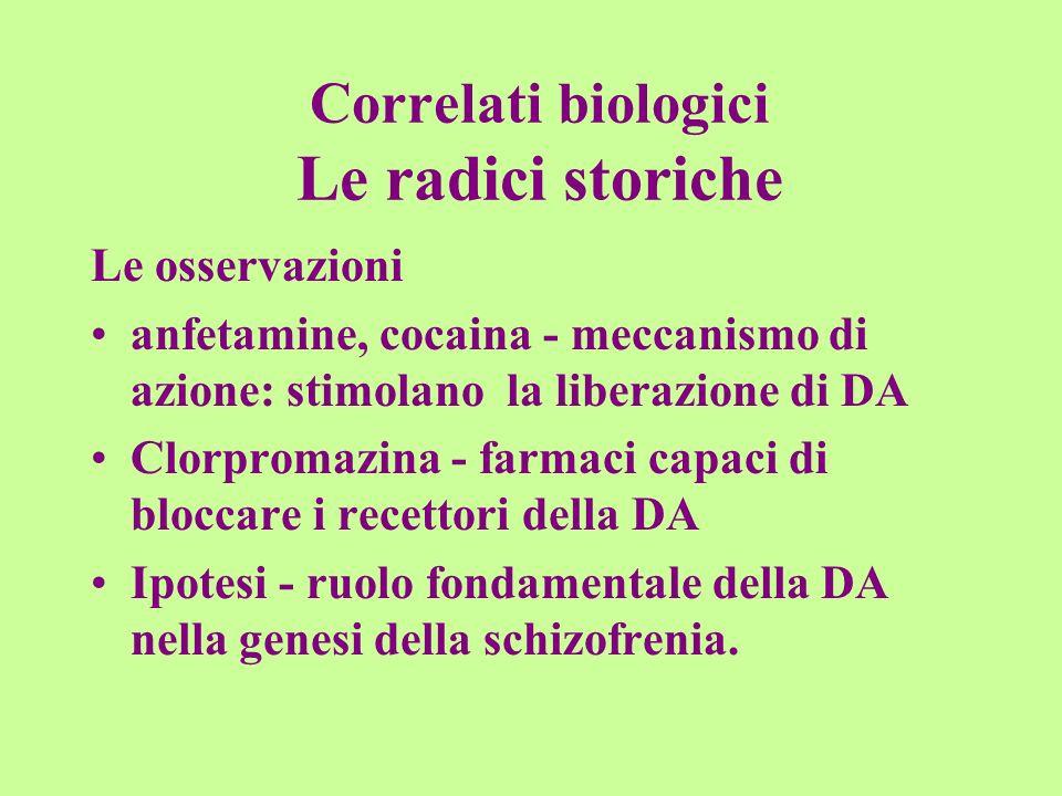 Correlati biologici Le radici storiche Le osservazioni anfetamine, cocaina - meccanismo di azione: stimolano la liberazione di DA Clorpromazina - farm