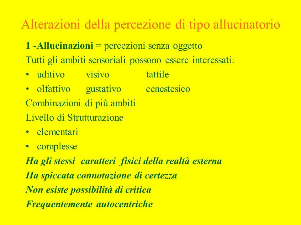 Alterazioni della percezione di tipo allucinatorio 1 -Allucinazioni = percezioni senza oggetto Tutti gli ambiti sensoriali possono essere interessati: