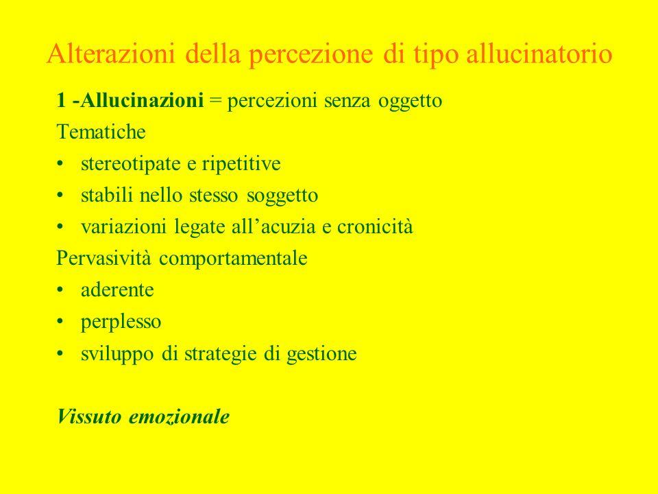 Alterazioni della percezione di tipo allucinatorio 1 -Allucinazioni = percezioni senza oggetto Tematiche stereotipate e ripetitive stabili nello stess