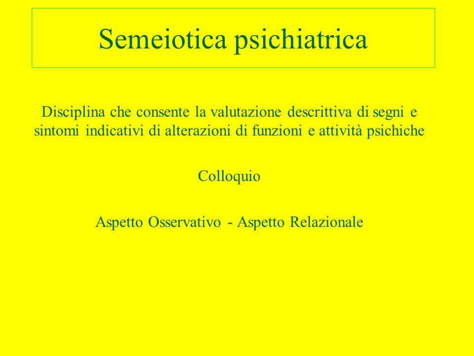 Semeiotica psichiatrica Disciplina che consente la valutazione descrittiva di segni e sintomi indicativi di alterazioni di funzioni e attività psichic