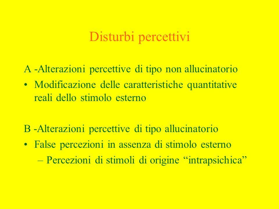 Alterazioni della percezione di tipo non allucinatorio 1 - Disturbo dellintensità –iperestesia –ipoestesia 2 - Disturbi della qualità –eritropsia e xantopsia –micropsia e macropsia 3 - Illusioni
