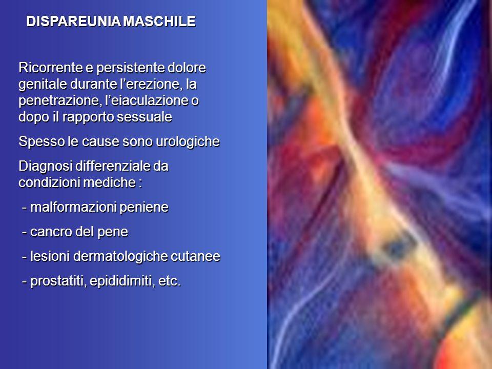 Ricorrente e persistente dolore genitale durante lerezione, la penetrazione, leiaculazione o dopo il rapporto sessuale Spesso le cause sono urologiche Diagnosi differenziale da condizioni mediche : - malformazioni peniene - malformazioni peniene - cancro del pene - cancro del pene - lesioni dermatologiche cutanee - lesioni dermatologiche cutanee - prostatiti, epididimiti, etc.