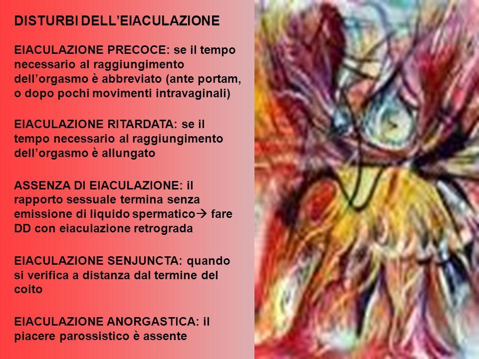 EIACULAZIONE PRECOCE: se il tempo necessario al raggiungimento dellorgasmo è abbreviato (ante portam, o dopo pochi movimenti intravaginali) EIACULAZIONE RITARDATA: se il tempo necessario al raggiungimento dellorgasmo è allungato ASSENZA DI EIACULAZIONE: il rapporto sessuale termina senza emissione di liquido spermatico fare DD con eiaculazione retrograda EIACULAZIONE SENJUNCTA: quando si verifica a distanza dal termine del coito EIACULAZIONE ANORGASTICA: il piacere parossistico è assente DISTURBI DELLEIACULAZIONE