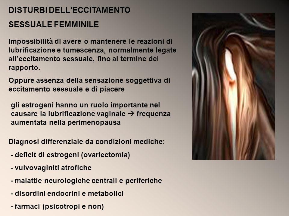 DISTURBI DELLECCITAMENTO SESSUALE FEMMINILE Impossibilità di avere o mantenere le reazioni di lubrificazione e tumescenza, normalmente legate alleccit