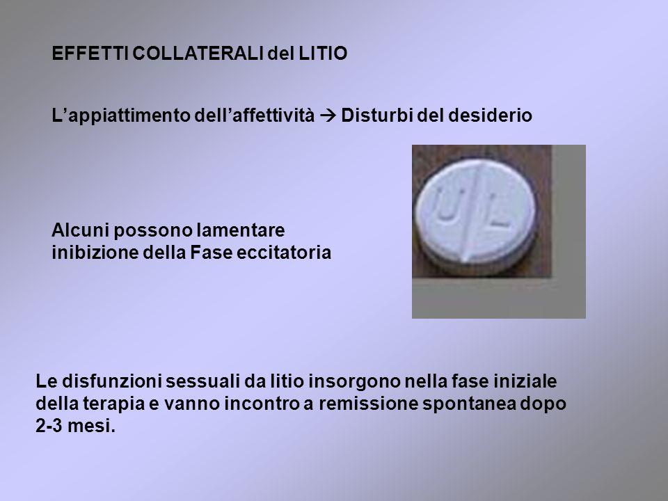 EFFETTI COLLATERALI del LITIO Le disfunzioni sessuali da litio insorgono nella fase iniziale della terapia e vanno incontro a remissione spontanea dopo 2-3 mesi.