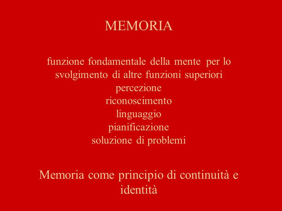 La memoria è la capacità di immagazzinare informazioni e di avere accesso ad esse senza memoria non avremmo il senso della nostra identità personale