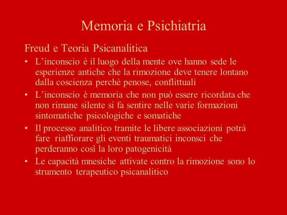 Memoria e Psichiatria Memoria come filo conduttore dellesistenza delluomo che ne determina la continuità e ne mantiene costante lidentità Attraverso la memoria luomo è in grado di riportare il passato alla coscienza, ricostruire la propria storia personale, organizzarsi nel presente e proiettarsi nel futuro dando continuità a ciò che siamo stati, ciò che siamo e ciò che saremo