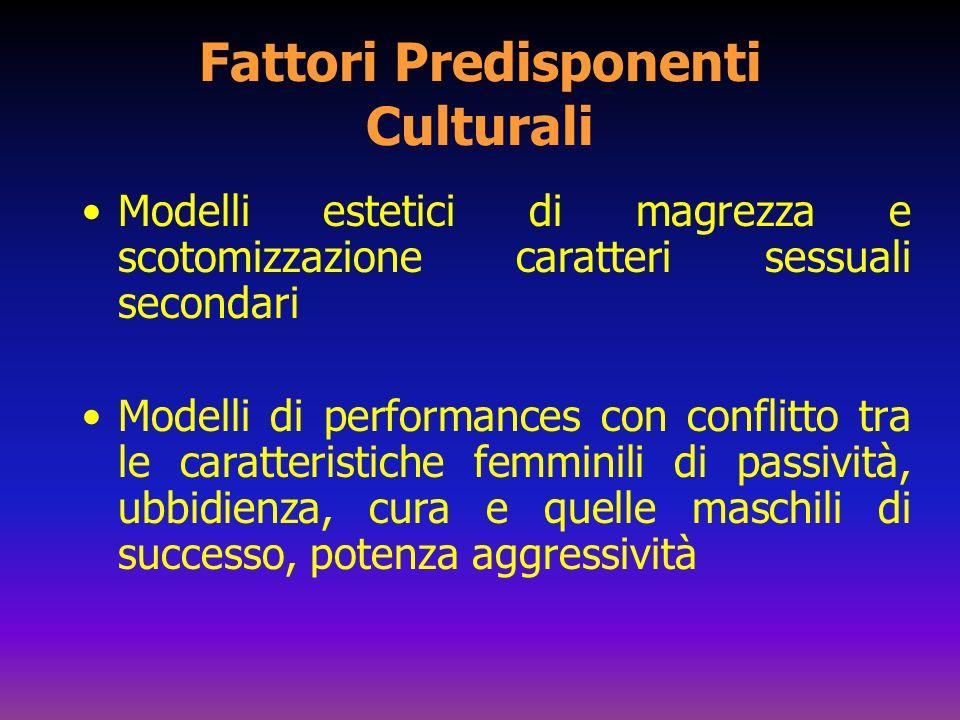 Fattori Predisponenti Culturali Modelli estetici di magrezza e scotomizzazione caratteri sessuali secondari Modelli di performances con conflitto tra