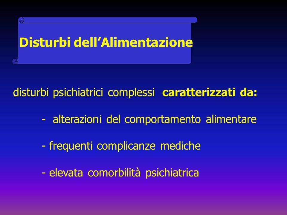 Disturbi dellAlimentazione disturbi psichiatrici complessi caratterizzati da: - alterazioni del comportamento alimentare - frequenti complicanze medic