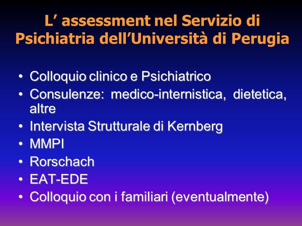L assessment nel Servizio di Psichiatria dellUniversità di Perugia Colloquio clinico e PsichiatricoColloquio clinico e Psichiatrico Consulenze: medico