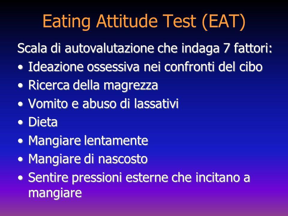 Eating Attitude Test (EAT) Scala di autovalutazione che indaga 7 fattori: Ideazione ossessiva nei confronti del ciboIdeazione ossessiva nei confronti
