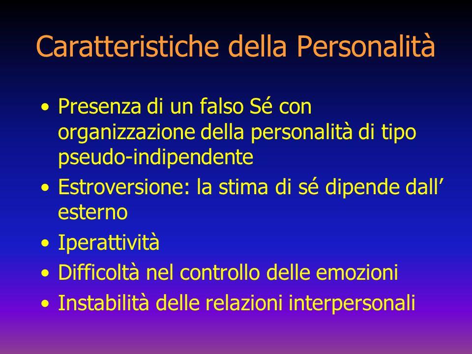 Caratteristiche della Personalità Presenza di un falso Sé con organizzazione della personalità di tipo pseudo-indipendente Estroversione: la stima di
