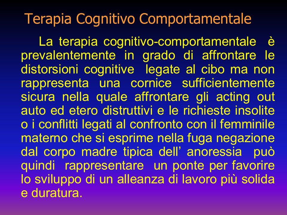 Terapia Cognitivo Comportamentale La terapia cognitivo-comportamentale è prevalentemente in grado di affrontare le distorsioni cognitive legate al cib