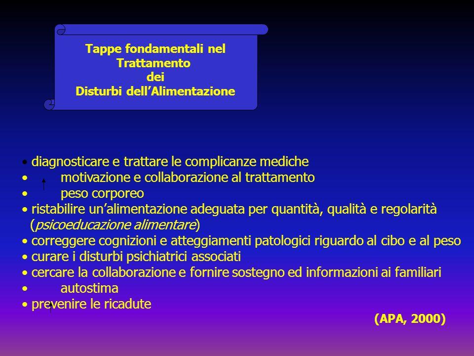 Tappe fondamentali nel Trattamento dei Disturbi dellAlimentazione diagnosticare e trattare le complicanze mediche motivazione e collaborazione al trat
