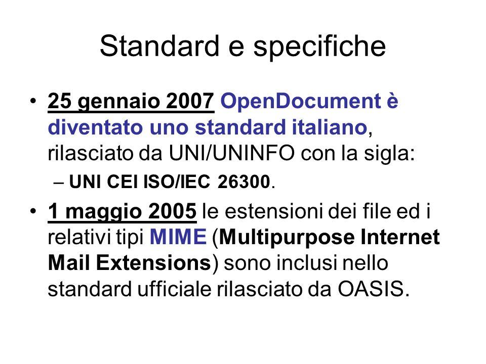 Le estensioni e il tipo MIME dei file Tipo di DocumentoEstensioneTipo MIME TESTO.odt application/vnd.oasis.opendocument.text DATABASE.odb application/vnd.oasis.opendocument.database FOGLIO di CALCOLO.ods application/vnd.oasis.opendocument.spreadsheet PRESENTAZIONE.odp application/vnd.oasis.opendocument.presentation DISEGNO.odg application/vnd.oasis.opendocument.graphics GRAFICO.odc application/vnd.oasis.opendocument.chart FORMULA.odf application/vnd.oasis.opendocument.formula IMMAGINE.odi application/vnd.oasis.opendocument.image MODELLO.odm application/vnd.oasis.opendocument.text-master