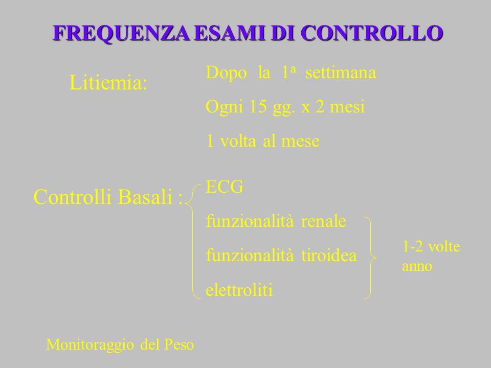 Litiemia: Dopo la 1 a settimana Ogni 15 gg. x 2 mesi 1 volta al mese FREQUENZA ESAMI DI CONTROLLO Controlli Basali : ECG funzionalità renale funzional