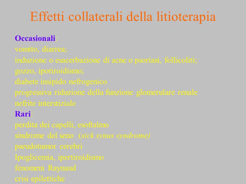 Effetti collaterali della litioterapia Occasionali: vomito, diarrea; induzione o esacerbazione di acne o psoriasi, follicoliti; gozzo, ipotiroidismo;