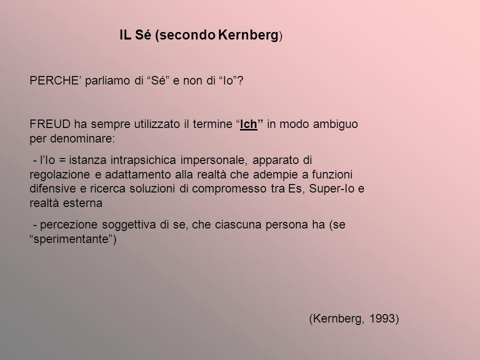 IL Sé (secondo Kernberg ) PERCHE parliamo di Sé e non di Io? FREUD ha sempre utilizzato il termine Ich in modo ambiguo per denominare: - lIo = istanza