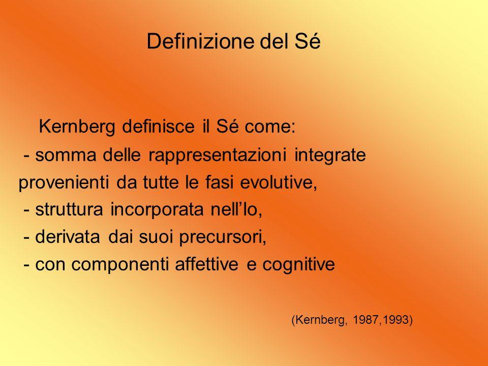 Definizione del Sé Kernberg definisce il Sé come: - somma delle rappresentazioni integrate provenienti da tutte le fasi evolutive, - struttura incorpo