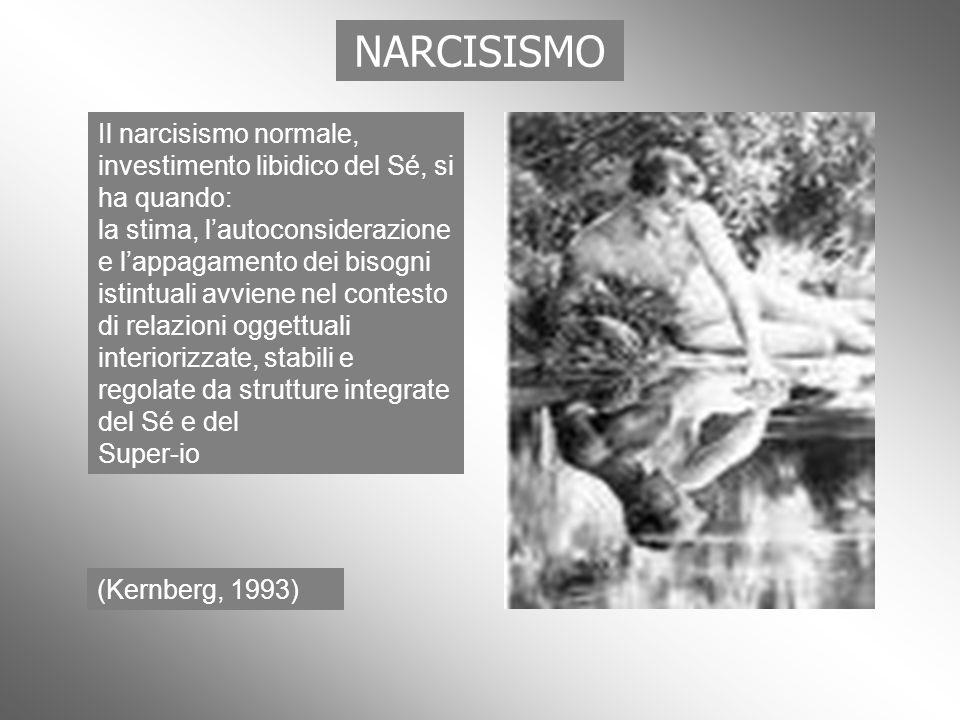 NARCISISMO Il narcisismo normale, investimento libidico del Sé, si ha quando: la stima, lautoconsiderazione e lappagamento dei bisogni istintuali avvi