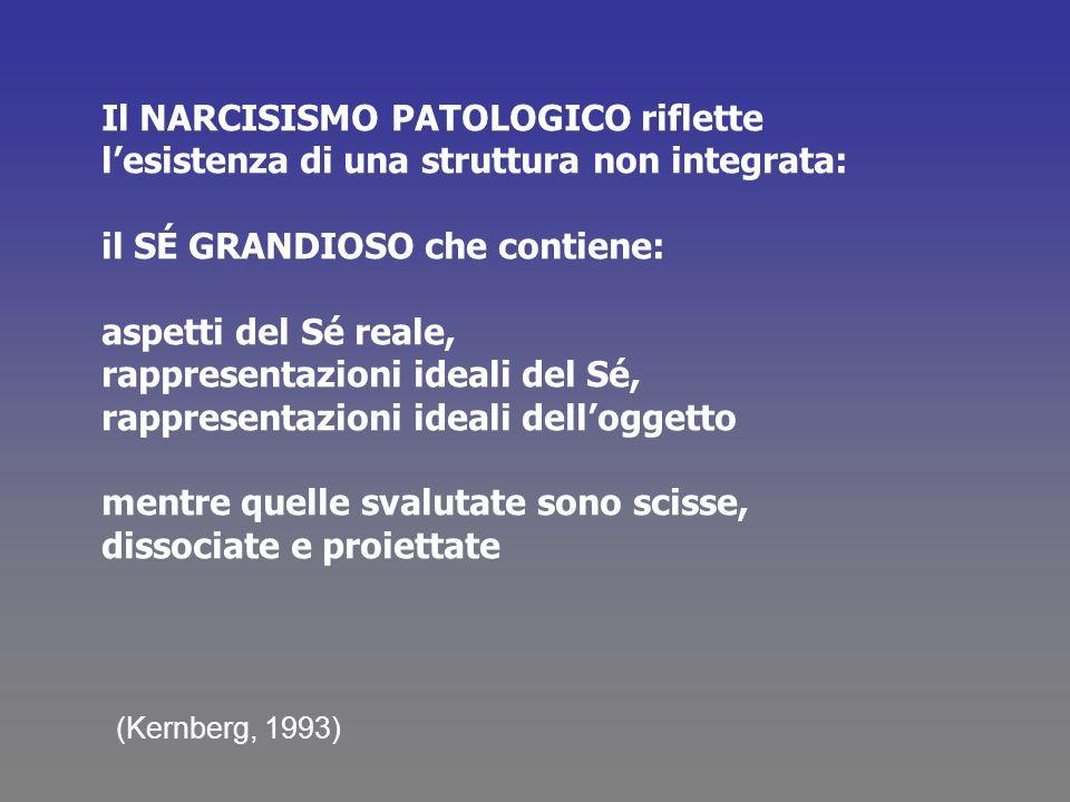 Il NARCISISMO PATOLOGICO riflette lesistenza di una struttura non integrata: il SÉ GRANDIOSO che contiene: aspetti del Sé reale, rappresentazioni idea