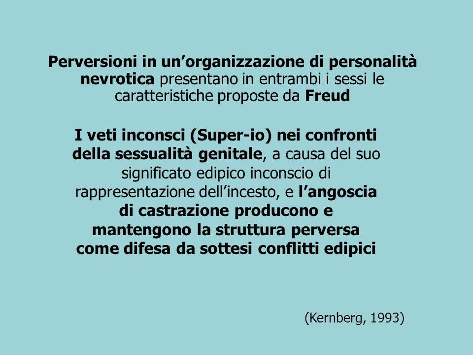 Perversioni in unorganizzazione di personalità nevrotica presentano in entrambi i sessi le caratteristiche proposte da Freud (Kernberg, 1993) I veti i