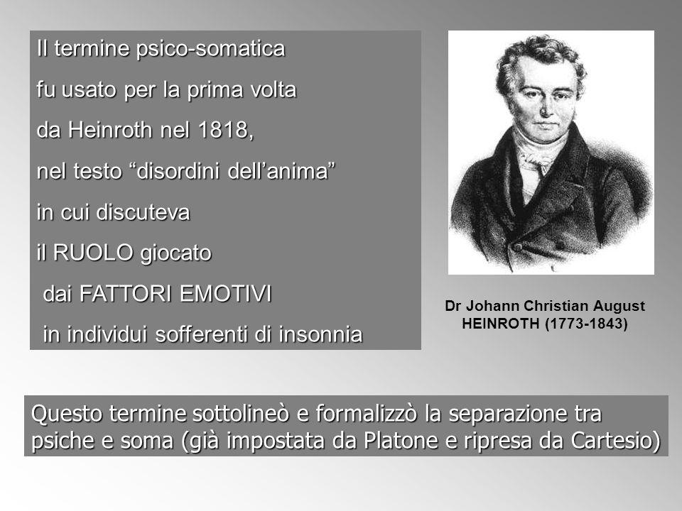 Il termine psico-somatica fu usato per la prima volta da Heinroth nel 1818, nel testo disordini dellanima in cui discuteva il RUOLO giocato dai FATTOR