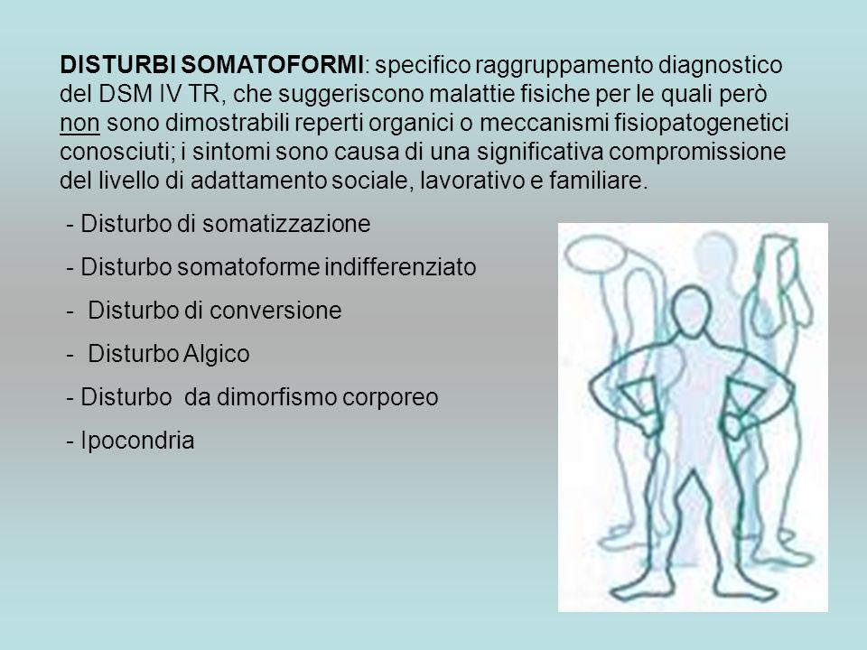DISTURBI SOMATOFORMI: specifico raggruppamento diagnostico del DSM IV TR, che suggeriscono malattie fisiche per le quali però non sono dimostrabili re