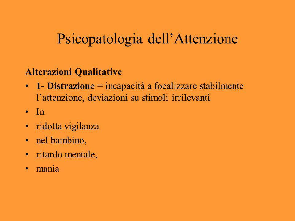 Psicopatologia dellAttenzione 2- Astrazione = focalizzazione su un solo oggetto restringimento dellattenzione su una piccola parte del campo di coscienza depressi schizofrenici
