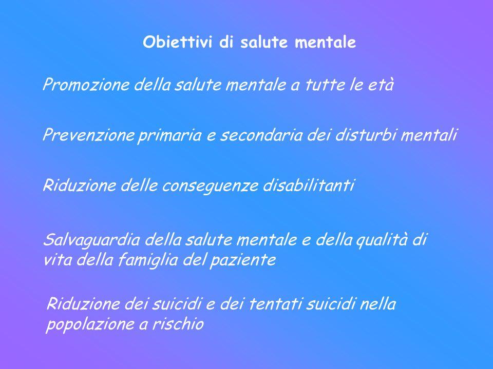 Obiettivi di salute mentale Promozione della salute mentale a tutte le età Prevenzione primaria e secondaria dei disturbi mentali Riduzione delle cons