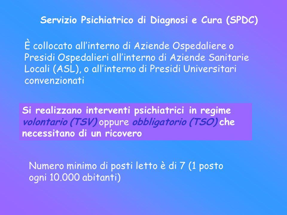 Servizio Psichiatrico di Diagnosi e Cura (SPDC) È collocato allinterno di Aziende Ospedaliere o Presidi Ospedalieri allinterno di Aziende Sanitarie Lo