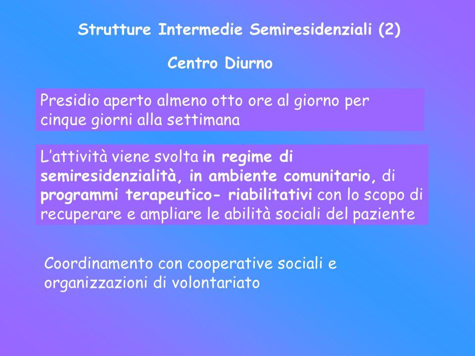 Strutture Intermedie Semiresidenziali (2) Centro Diurno Presidio aperto almeno otto ore al giorno per cinque giorni alla settimana Lattività viene svo