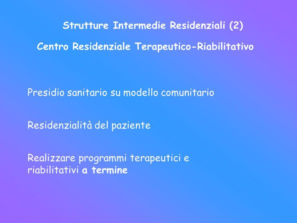 Strutture Intermedie Residenziali (2) Centro Residenziale Terapeutico-Riabilitativo Presidio sanitario su modello comunitario Residenzialità del pazie